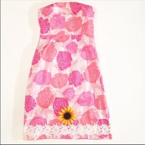 Lilly Pulitzer pink strapless dress size 8
